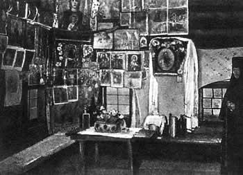Внутренний вид избы, в которой родился св. прав. Иоанн Кронштадтский. Фото 1900-х гг.